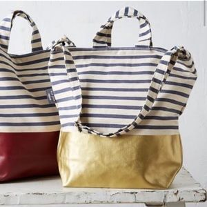 "NWT BAGGU x West Elm Striped ""S"" Tote with Gold"